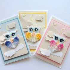 Owl blue pink yellow variations