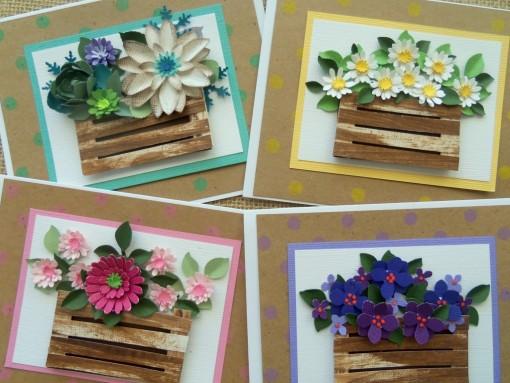 Spring cards set of four close up