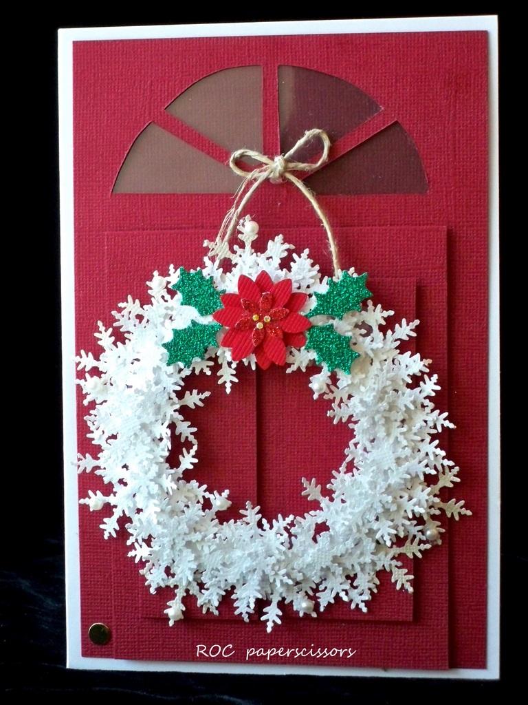 White Wreath On Red Roc Paper Scissors