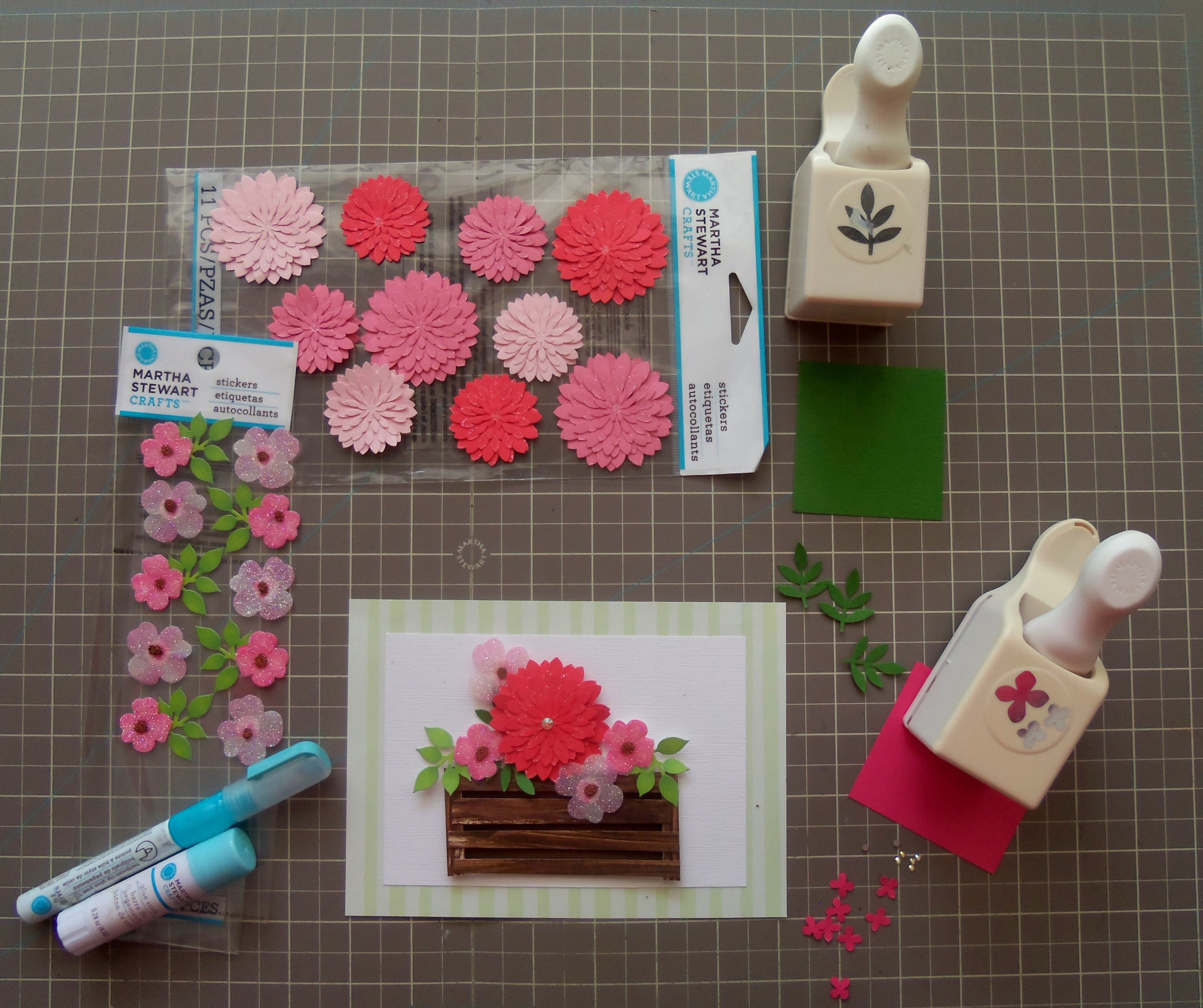 Martha stewart paper flower stickers flowers healthy fl stickerartha stewart paper punches hydrangea and leaf frond 9 easy spring in a crate card tutorial with martha stewart crafts mightylinksfo