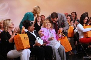 All the ladies receiving their swag bags at the end of the show, including Jerry's mom.